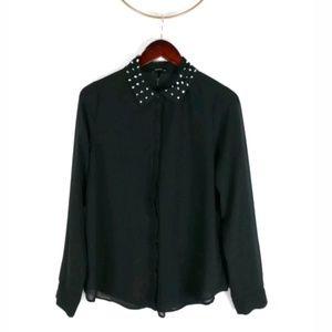 Nollie sheer studded collar button up blouse